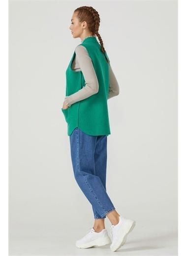 Sementa Kadın Fermuarlı Triko Yelek - Yeşil Yeşil